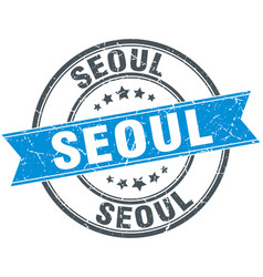 Seoul blue round grunge vintage ribbon stamp vector
