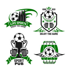 Sport bar or pub icon with beer and soccer ball vector