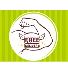 strong man hand with icon of free delive vector image