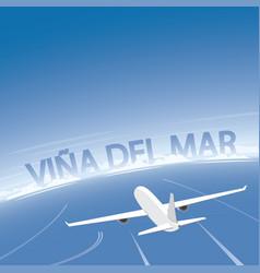 Vina del mar flight destination vector