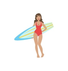 Woman in red one-piece swimsuit pasing with vector