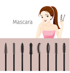 woman with mascara set vector image vector image