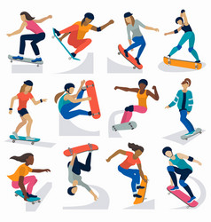 young skateboarder active girls sport extreme vector image