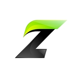 Z letter black and green logo design fast speed vector