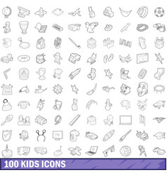 100 kids icons set outline style vector