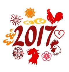 Greeting card with symbols of 2017 by Chinese vector image