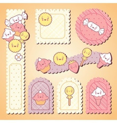 Set of decorative design elements with kawaii food vector