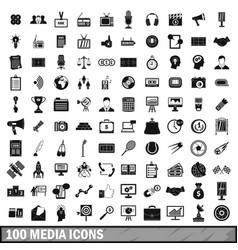 100 media icons set in simple style vector image
