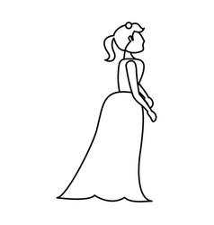 Portrait woman bride image outline vector