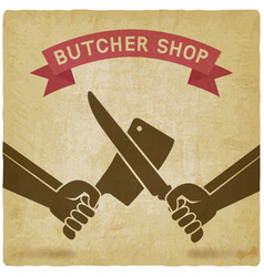 Crossed butcher knives old background vector