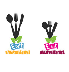 eat healthy organic set in colorful vector image