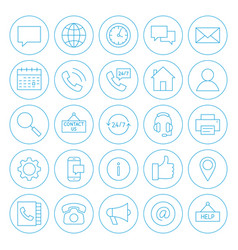 Line circle contact us icons vector