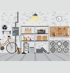 Modern interior storage room with metal shelf vector