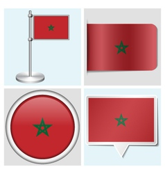 Morocco flag - sticker button label flagstaff vector