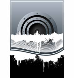 Music skyline grunge lined background vector