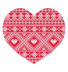 Traditional Ukrainian red folk art heart pattern vector image