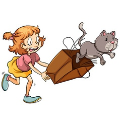 A young girl chasing the cat vector