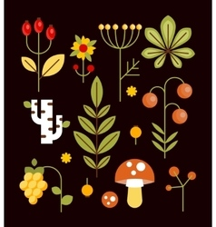 Autumn natural wood elements in flat style vector
