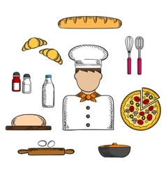 Baker icons with bakery and ingredients vector
