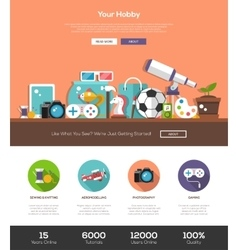 Hobbies website template with header and icons vector