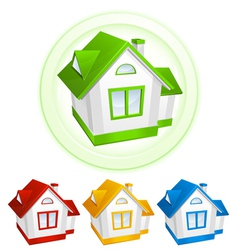 Simple color house icons vector