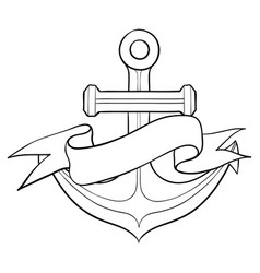 anchor with ribbon banner hand drawn vector image