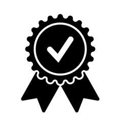 badge with ribbons and check mark vector image vector image