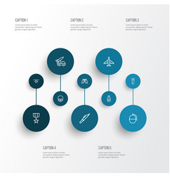 battle outline icons set collection of order vector image vector image