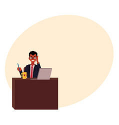 Black african businessman working at office table vector