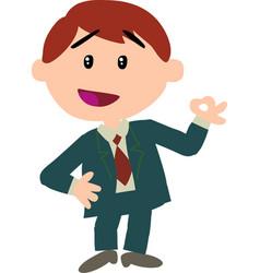 boy dressed like a businessman doing ok sign vector image