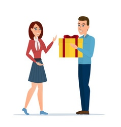 Cartoon boy giving girl a gift box isolated on vector