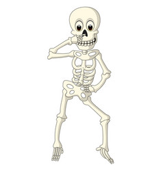 cartoon funny human skeleton dancing vector image