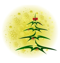 Christmas tree with golden balls and cones vector image vector image