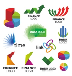 Collection of icons for banks and financial vector image