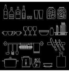 Cooking utensils line icons vector image vector image