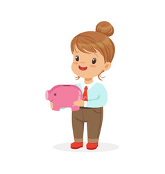 Cute happy little girl businesswoman holding a vector