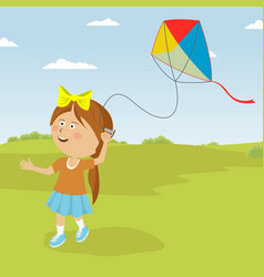 cute little girl playing with kite outdoor vector image vector image