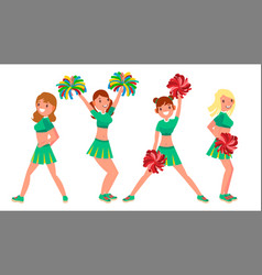 Female cheerleader different poses vector