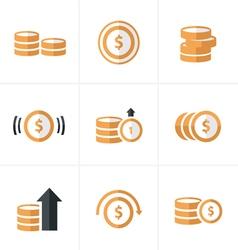 Flat icon coins icons set designa vector