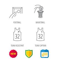 Football basketball and team captain icons vector