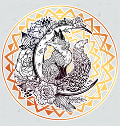 fox on night floral crescent moon in vinatge style vector image