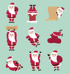 fummy cartoon santa set vector image