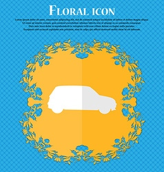 Jeep Floral flat design on a blue abstract vector image vector image