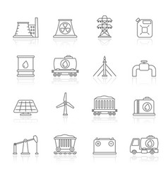 Line energy source and fossil fuel industry icons vector