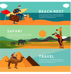 people on summer vacation horizontal banners with vector image vector image