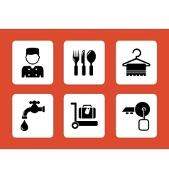set hotel icons vector image vector image