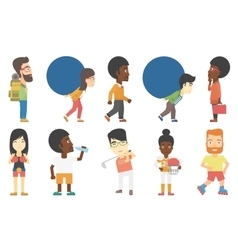 set of business and sport characters vector image