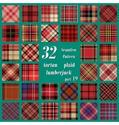 Set of thirty two tartan seamless pattern vector