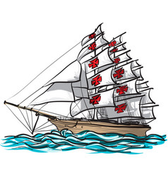 Ship columbus hand draw and paint on white vector