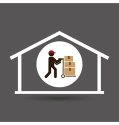 Silhouette worker trolley box storage vector
